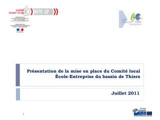 Présentation de la mise en place du Comité local École-Entreprise du bassin de Thiers
