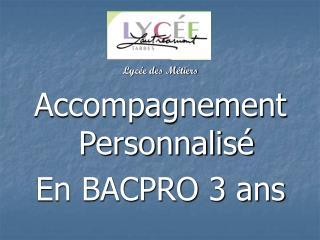 Lycée des Métiers Accompagnement Personnalisé  En BACPRO 3 ans