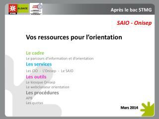 Vos ressources pour l'orientation Le cadre Le parcours d'information et d'orientation Les services