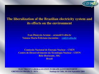 The liberalization of the Brazilian electricity system and its effects on the environment