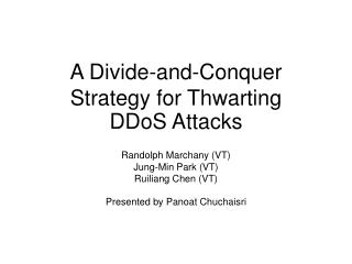 A Divide-and-Conquer Strategy for Thwarting  DDoS Attacks