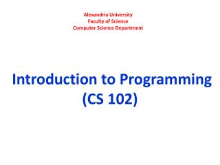 Alexandria University Faculty of Science Computer Science Department