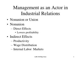 Management as an Actor in Industrial Relations