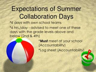 Expectations of Summer Collaboration Days
