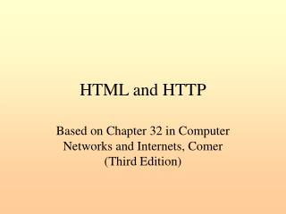 HTML and HTTP