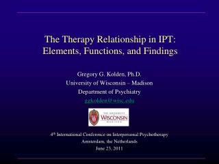 The Therapy Relationship in IPT: Elements, Functions, and Findings