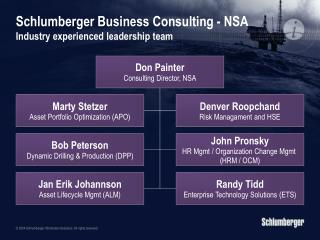 Schlumberger Business Consulting - NSA  Industry experienced leadership team
