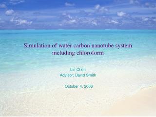 Simulation of water carbon nanotube system including chloroform