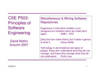 CSE P503: Principles of Software Engineering
