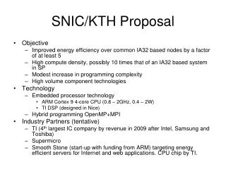 SNIC/KTH Proposal
