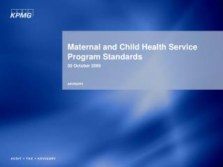 Maternal and Child Health Service Program Standards