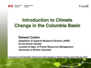 Introduction to Climate Change in the Columbia Basin
