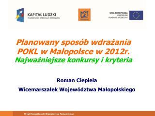 Planowany sposób wdrażania POKL w Małopolsce w 2012r. Najważniejsze konkursy i kryteria
