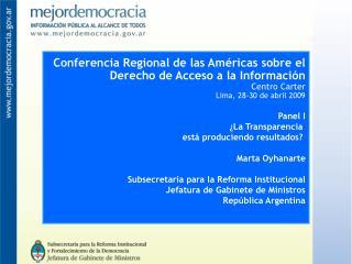 Conferencia Regional de las Am�ricas sobre el Derecho de Acceso a la Informaci�n Centro Carter