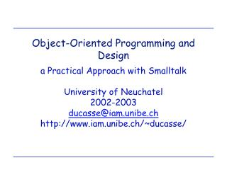 Object-Oriented Programming and Design