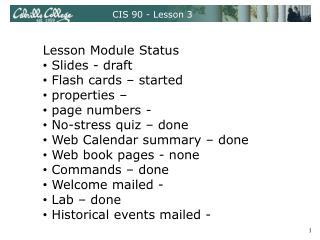 CIS 90 - Lesson 3