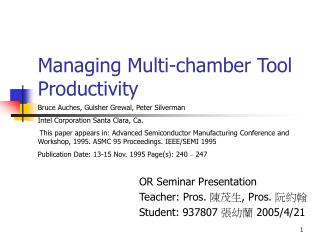 Managing Multi-chamber Tool Productivity