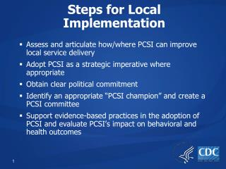 Steps for Local Implementation