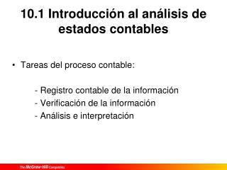 10.1 Introducción al análisis de estados contables
