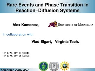 Rare Events and Phase Transition in  Reaction–Diffusion Systems