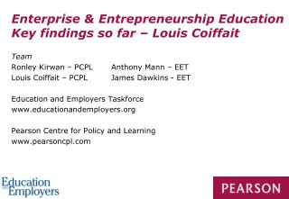 Enterprise & Entrepreneurship Education Key findings so far – Louis Coiffait