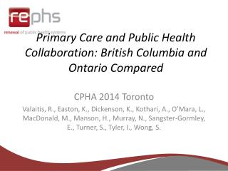 Primary Care and Public Health Collaboration: British Columbia and Ontario Compared
