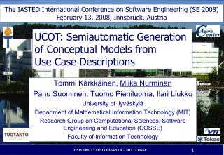 UCOT: Semiautomatic Generation of Conceptual Models from Use Case Descriptions