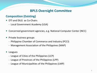 BPLS Oversight Committee