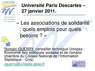 «Les associations de solidarité : quels emplois pour quels besoins ?»