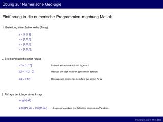 Einf hrung in die numerische Programmierumgebung Matlab