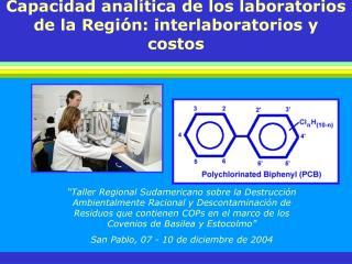 Capacidad analítica de los laboratorios de la Región: interlaboratorios y costos
