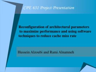 CPE 631 Project Presentation