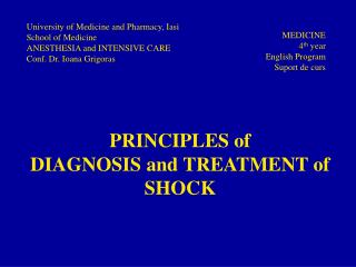 PRINCIPLES of DIAGNOSIS and TREATMENT of SHOCK