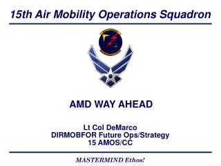 Lt Col DeMarco DIRMOBFOR Future Ops/Strategy 15 AMOS/CC