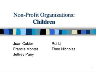 Non-Profit Organizations: Children