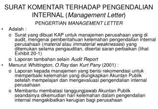 SURAT KOMENTAR TERHADAP PENGENDALIAN INTERNAL ( Management Letter )