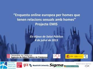 """""""Enquesta online europea per homes que tenen relacions sexuals amb homes"""" Projecte EMIS"""