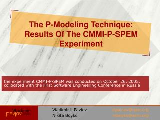 The P-Modeling Technique: Results Of The CMMI-P-SPEM Experiment