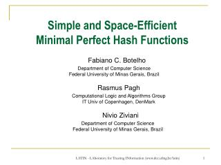 Simple and Space-Efficient  Minimal Perfect Hash Functions