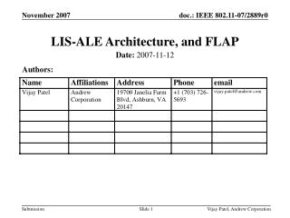 LIS-ALE Architecture, and FLAP