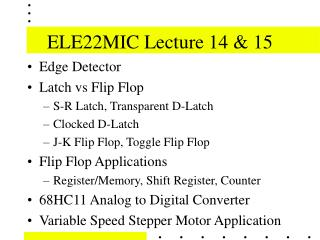 ELE22MIC Lecture 14 & 15