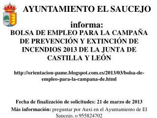 AYUNTAMIENTO EL SAUCEJO  informa: