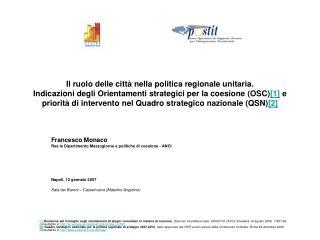 Francesco Monaco Res.le Dipartimento Mezzogiorno e politiche di coesione - ANCI
