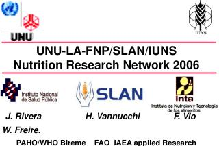 UNU-LA-FNP/SLAN/IUNS  Nutrition Research Network 2006