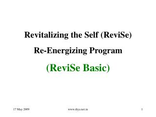 Revitalizing the Self (ReviSe) Re-Energizing Program (ReviSe Basic)