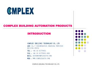 COMPLEX BUILDING AUTOMATION PRODUCTS