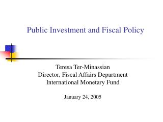 Public Investment and Fiscal Policy