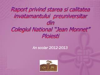 An  scolar  2012-2013