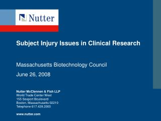 Subject Injury Issues in Clinical Research