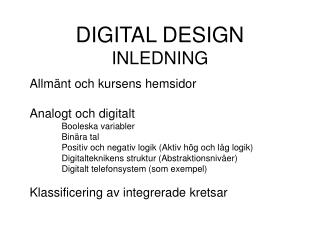 DIGITAL DESIGN INLEDNING